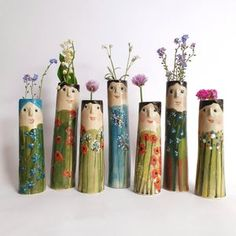 Spring Family Bud Vases Ceramic Vases Pottery Planter Vases | Etsy Bud Vases, Flower Vases, Ceramic Angels, Clay Vase, Clay Ornaments, Pottery Vase, Hanging Art, Vases Decor, Handmade Pottery