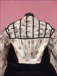 Back view of barred wool barege bodice with velvet ribbon trim. Velvet Ribbon, Wool Dress, Historical Society, Wool Blend, Bodice, Bags, Study, Dresses, Fashion