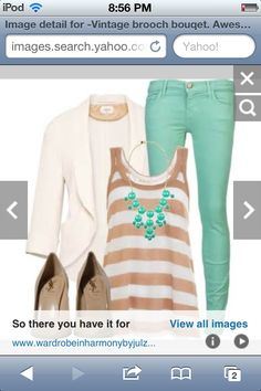 A cute striped shirt with white jacket,colored jeggings,and cute tan pumps
