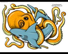 This is like me and my sister. She's the shark and I'm the octopus. Shark And Octopus Tattoo Designs Shark Octopus Free Tattoo Flash . Ocean Tattoos, Shark Tattoos, Love Tattoos, Octopus Tattoo Design, Tattoo Designs, Traditional Shark Tattoo, Koi Fish Tattoo, Octopus Art, Tattoo Shows