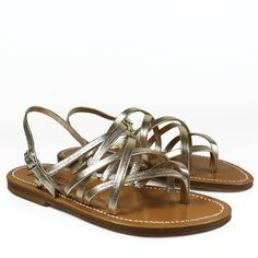K.Jacques Sandals ($150) ❤ liked on Polyvore featuring shoes, sandals, champagne, champagne shoes, leather flat shoes, low shoes, k jacques sandals and leather sole sandals