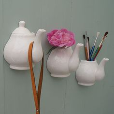 porcelain teapot wall vase and hook by deborah sparks | notonthehighstreet.com