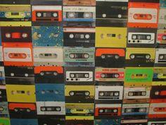 Retro 1980's Cassette Tape Photo Digital Printed Full Colour Designer Cotton Curtain Upholstery Fabric - Free UK Postage