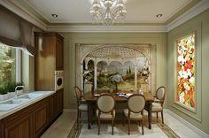 Grande cuisine séparée du séjour avec une table à rallonges en bois massif