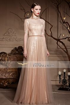 [60% OFF] Chic Champagne #PartyDress with Beaded Lace. Really very attractive, do u agree? #2016prom #weddingpartydress #longgown #designerpromdress