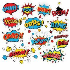 Comic Text Digital Clipart, Superhero Text Clipart, Superheroes Pop Art Text and Bubbles Clipart - Scrapbook ideas Superhero Pop Art, Superhero Texts, Superhero Party, Superhero Clipart, Superhero Characters, Superman Clipart, Clipart Boy, Comic Kunst, Watercolor Clipart