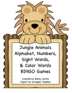 $ Jungle Themed Bingo Games for the Alphabet, Numbers, Sight Words, & Color Words. 4 Games total....ten boards for each game.