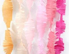 High Quality Personalized Paper Goods by thepaperkingdom on Etsy Ribbon Backdrop, Streamer Backdrop, Party Streamers, Sunshine Birthday Parties, Rainbow Birthday Party, Birthday Party Decorations, Baby Shower Decorations, Elmo Birthday Invitations, Tissue Paper Garlands