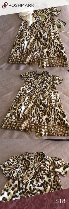 Price reduce to sell NY Col.  button down dress. Great condition. Statement dress. Price to sell quickly !!! NY Collection Dresses Asymmetrical