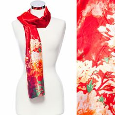 Red Silk Flower Print Scarf - Buy it online at http://www.scarfworld.com/online_store/floral_scarves_41.cfm #floralscarf #fashionscarf #flowers #womensscarf