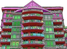 Whimsically colorized building.
