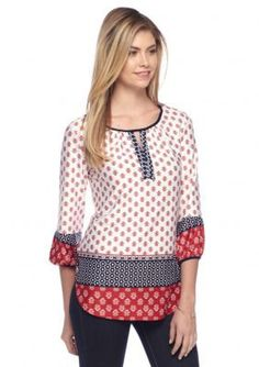New Directions  Americana Peasant Top