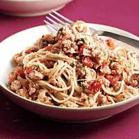 Spaghetti with Spicy Turkey Meat Sauce.....Your family will love this healthy take on classic spaghetti bolognese.
