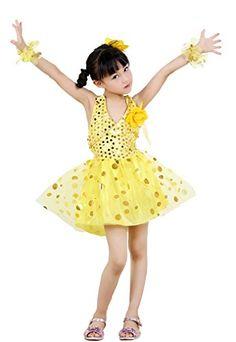 2103a86e811f9 Lovely Item Girl s V-neck Flower Backless Shaqun Sequins Costume Dance Dress  - Inch