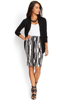 Blurred Lines Pencil Skirt | FOREVER21 #F21Contemporary  If you are interested gently used items like this please visit www.occasionallyblackandwhite.com
