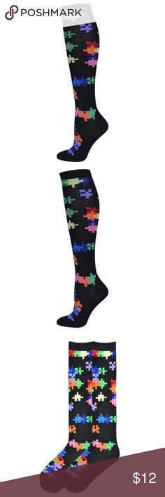 Jig Saw Puzzle Knee High Socks Jigsaw Puzzle. Color: Black with colorful design. Women's shoe size 4-10 US.  60% Cotton, 38% Polyester, 2% Spandex 1 pair pack - Crew Length Cotton Blend - Comfortable Puzzle Design - Perfect Fit Machine Wash Accessories Hosiery & Socks