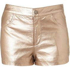TOPSHOP Metallic Bronze Shorts ($16) ❤ liked on Polyvore