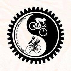 Bicycle T-shirt Cycling Yin-Yang Mountain Bike and Road Cycling Black and White. $24.95, via Etsy.