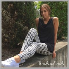 """Black & White Gingham Leggings Gingham leggings and sleeveless tunics...super cute for spring & summer. Leggings made of poly/spandex inseam 28.5"""" Sleeveless tops made of rayon/spandex. Each sold separately for $28. Bundle a set for $50. Pants Leggings"""