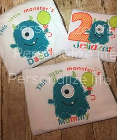 8bd9373b Little Monster Birthday Shirt. Family set of birthday shirts. Price  includes one childs shirt,mom and dad shirts. Listing is for White short  sleeve T-shirts ...