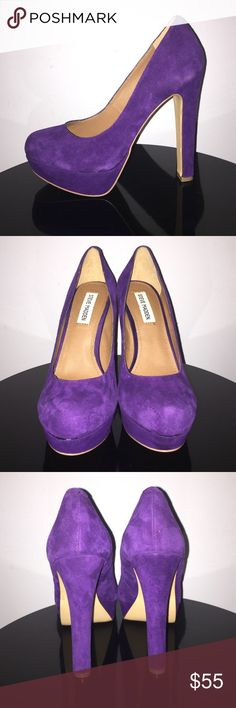"Steve Madden Purple Suede ""Beasst"" Platform Heels Up for grabs is this pair of shoes from Steve Madden. They are a size 7.5M with 1.5"" platforms and 5.5"" heels. These shoes are the ""Beasst"" style with platforms and thicker style heels. They are a deep purple suede and rounded pointy toes. These shoes are almost new with very little wear on a small area of the soles. Steve Madden Shoes Platforms"