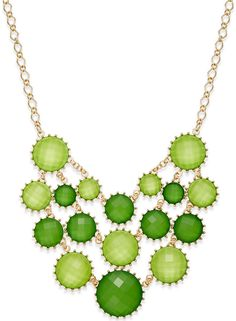 Style&co. Gold-Tone Green Stone Multi-Row Necklace #jewelry #StatementNecklace #green