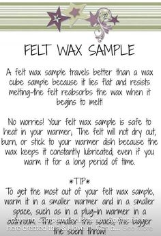 How to make felt sample to give out for scentsy