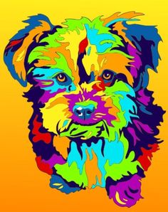 Multi-Color Yorkshire Terrier Dog Matted Prints & Canvas Giclées. Hand painted and printed in USA by the artist Michael Vistia. Dog Breed: A yorkiepoo is a hybrid dog, bred for the first time in the U