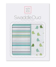 Take a look at this Turquoise Stripes & Little Chickies Swaddling Blanket Duo by SwaddleDesigns on #zulily today!