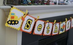 Dump Truck Bulldozer Personalized Banner, Construction Equipment, Yellow and Orange -- Made to Order on Etsy, $19.99