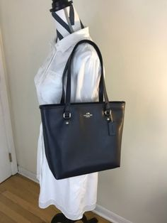 4640ed608e Nwt coach f 36632 crossgrain zip top leather tote midnight navy blue