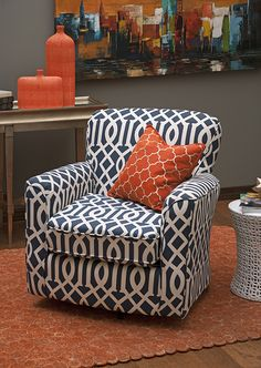 89766 Lucia Navy Geometric Swivel Chair, by IMAX Worldwide Home