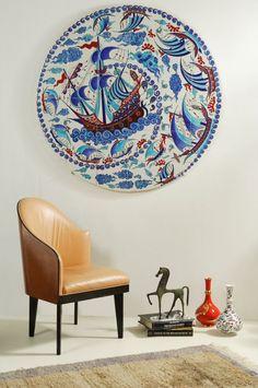Iznik NL tile mural Galleon Design