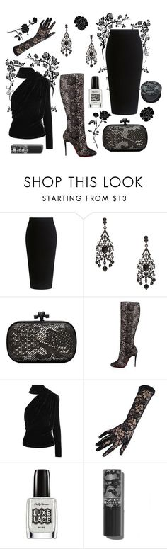 """""""Lace up all the way"""" by forgetrules ❤ liked on Polyvore featuring Theory, Bottega Veneta, Christian Louboutin, Gareth Pugh, Black, Sally Hansen and Lipstick Queen"""