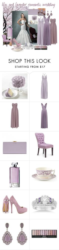 """""""lilac and lavender romantic wedding"""" by curvaceouscouture ❤ liked on Polyvore featuring NLY Eve, NLY Trend, Biba, Lulu Guinness, Guerlain, Spode, Essie, ShoeMint, Allurez and women's clothing"""