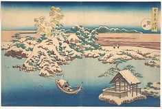 Katsushika Hokusai (Japanese, 1760–1849). Snow on the Sumida River (Sumida), from the series, Snow, Moon, and Flowers (Setsugekka), ca. 1833. The Metropolitan Museum of Art, New York.Henry L. Phillips Collection, Bequest of Henry L. Phillips, 1939 (JP2921) | Hokusai's snowy landscape at Mukōjima along the Sumida River is similar to his pupil Katsushika Isai's fan painting, seen on the right. #snow