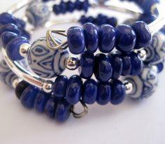 Blue and White Porcelain Bead Memory Wire Bangle. $32.00, via Etsy.