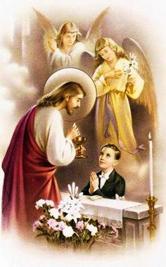 Catholic holy card: while receiving first communion, child mystic saint receives visionary visitation of Lord Jesus Christ as priest (with attendant angels). Religious Pictures, Jesus Pictures, Communion Prayer, Boys First Communion, Vintage Holy Cards, Communion Invitations, Prayer Cards, Kirchen, Prayers