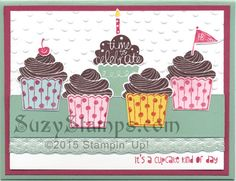 Stampin' Up! Cards - 2015-09 Class - Cupcake Party stamp set, Cupcake Builder Punch and Decorative Dots Embossing Folder