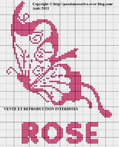 Grille gratuite point de croix : papillon couleur rose