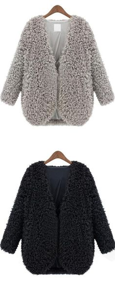 Grey V Neck Long Sleeve Faux Fur Coat - m.shein.com