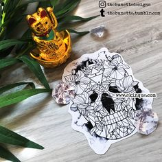 Geometric skull floral flower polygon watercolor tattoo abstract illustration