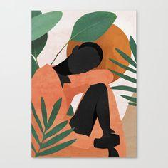 Tropical Girl 10 Mini Art Print by thindesign Art And Illustration, Illustrations, Art Sketches, Art Drawings, Tropical Girl, Aesthetic Art, Art Girl, Art Inspo, Line Art