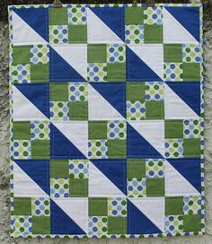 PDF Pattern for Geometric Modern Cot Crib Patchwork Quilt in triangles. Sew your own handmade quilt. PDF Pattern for Geometric Modern Cot Crib Patchwork Quilt. Love the colour combo Geometric Navy and Lime Handmade Modern Cot Crib Patchwork Quilt with whi Baby Boy Quilt Patterns, Baby Boy Quilts, Quilt Block Patterns, Quilt Blocks, Twin Quilt Pattern, Baby Quilts Easy, Baby Quilts To Make, Patchwork Quilt, Scrappy Quilts