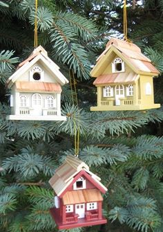 Cottage Birdhouse Ornament Set (Gold-Red-Green).  The incredible details on our birdhouse and birdfeeder miniatures are sure to make them welcome additions to your Christmas tree. Each set contains three 9001SS ornaments in Gold, Red and Green Not intended for outdoor use. Individual Ornament: 3.25 H x 2.5 W x 2.5 D.