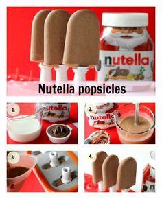 PICOLÉ DE NUTELLA *¬*    Ingredientes  1/2 litro de leite [ou leite com achocolatado]  1/2 pote [aprox. 200g] de Nutella  [Para pequenas porções [duas ou três] use meia xícara de cada ingrediente.]    Modo de preparo:  1. Misture a Nutella ao leite, colocando o leite aos poucos.  2. Mexa até que fique homogenea.  3. Coloque nas forminhas de picolé.  4. Espere entre 2 e 4 horas e está pronto!