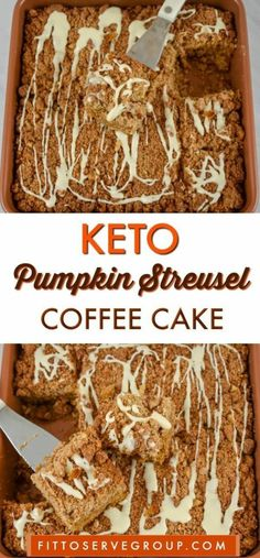 A recipe for keto pumpkin streusel coffee cake that is sure to be your low carb coffee cake of choice during pumpkin season. A recipe for keto pumpkin streusel coffee cake that is sure to be your low carb coffee cake of choice during pumpkin season. Keto Foods, Keto Snacks, Keto Meal, Keto Friendly Desserts, Low Carb Desserts, Low Carb Recipes, Coconut Recipes, Cooking Recipes, Keto Cookies