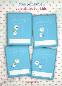These are too darn cute!!!! Adorable Free Printable Class Valentines - 4 in the set #valentinesday #printables