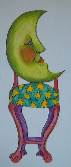 Enlargement of Rubbermoon stamp, color pencil