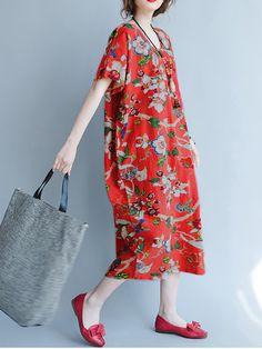 Gracila Floral Short Sleeve V Neck Pocket Loose Women Dresses